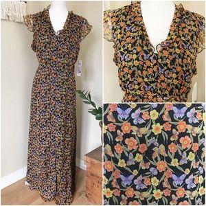 NWT Silk Floral Maxi Dress 90s w/ Empire Waist